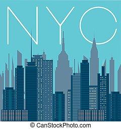 ville, york, panorama, nouveau, nyc-