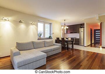 vivant, appartement, -, spacieux, salle