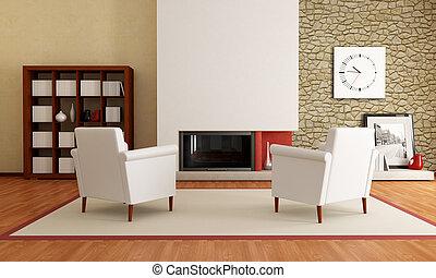 vivant, moderne, cheminée, salle