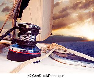 voile, contre, yacht, voyage, sunset., sailboat.
