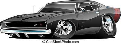 voiture, américain, muscle, dessin animé, classique