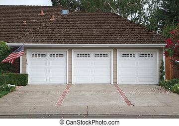 voiture, drapeau, trois, garage
