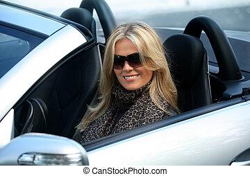 voiture, girl, blonds