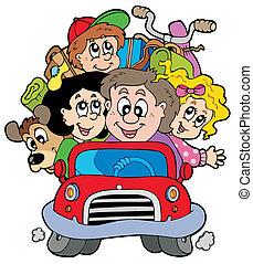 voiture, vacances, famille, heureux
