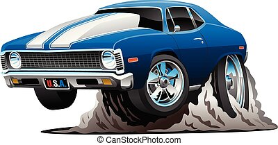 voiture, vecteur, classique, américain, dessin animé, muscle, illustration