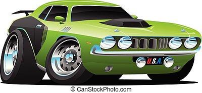 voiture, vecteur, classique, américain, style, dessin animé, muscle, années soixante-dix, illustration