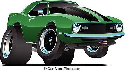 voiture, vecteur, classique, années soixante, américain, style, dessin animé, muscle, illustration