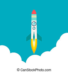 voyage espace, fusée, innovation, développement, rocket., moon., management., plat, haut, idea., process., 3d, produit, style., bateau, illustration, projet, début, créatif, launch., voler