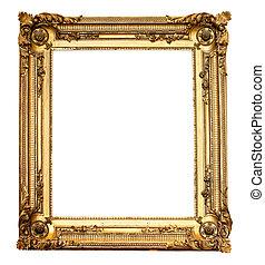 vrai, antique vieux, or, cadre, isolé, blanc