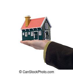 vrai, maison, -, propriété, main