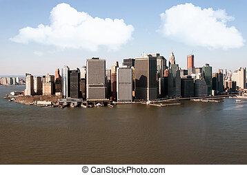 vue ville, aérien, york, nouveau