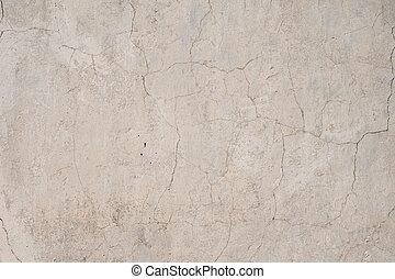 wall., texture, obsolète, extérieur, bâtiment, toqué, mastic, vieux, cemented