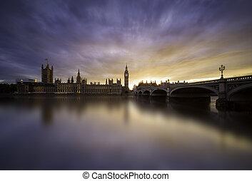 westminster, coucher soleil, sur, pont londres