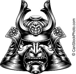woodcut, samouraï, masque, style