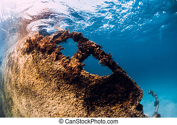 wreckship, sous-marin, fond, sable, arrecife, île, lanzarote, bleu, mer