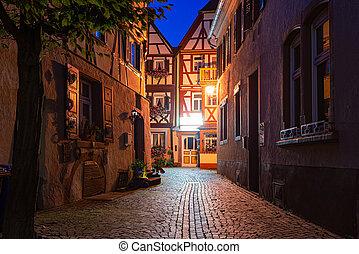 wurzburg, vieux, rue, ville, allemagne, bavière