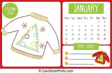 year., page, calendrier, series., 2021, janvier, gosses, tout petits enfants, jeu, activité, coloration, pédagogique