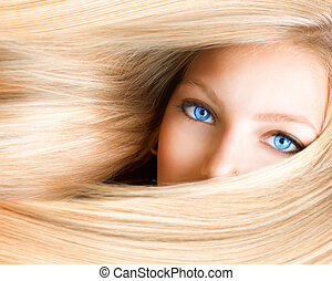 yeux bleus, femme, girl., blonds, blond