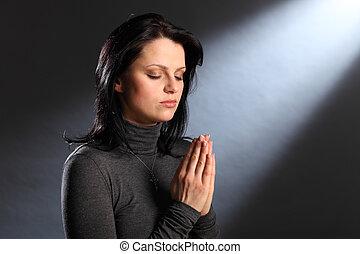 yeux, femme, jeune, religion, moment, fermé, prière