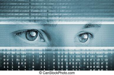 yeux, informatique, fond, technologie pointe, technologie, exposer