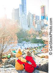 york, filles, nouveau, ville parc, central, adorable, vue, peu, ice-rink