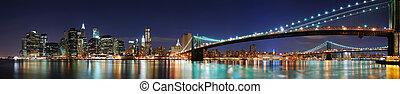york, manhattan, panorama, ville, pont, nouveau, brooklyn
