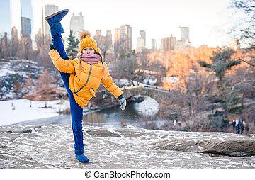 york, parc ville, peu, central, ice-rink, adorable, girl, nouveau, vue