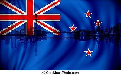 zélande, nouveau, horizon, drapeau, auckland