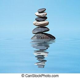zen, -, méditation, pile, équilibré, fond, reflet, pierres, eau