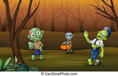 zombi, célébrer, halloween, forêt